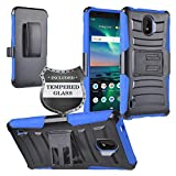 Z-GEN - Compatible with Nokia 3.1C - Hybrid Armor Phone Case w/Stand/Belt Clip Holster + Tempered Glass Screen Protector - CV1 Blue