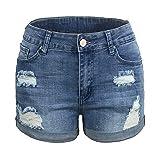 Pantalones Vaqueros Cortos de Mujer de Cintura Alta con Pantalones Vaqueros de Tul Vintage Rasgados para Niña...