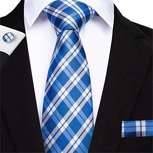 ZHAOSHUNAN Krawatten Blauer Streifen Herren Krawatte Manschettenknöpfe Set Gewebte Krawatte Set Herren Krawatte @ C