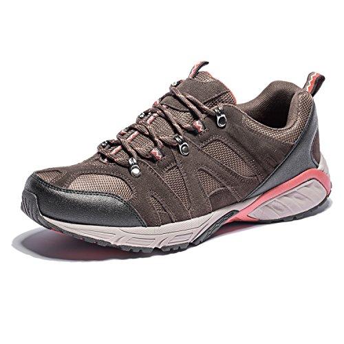 KENSBUY Hiking Shoes Men Waterproof Lace Climbing Shoe Mens Outdoor Trekking Sneaker Big Size Brown EU 42