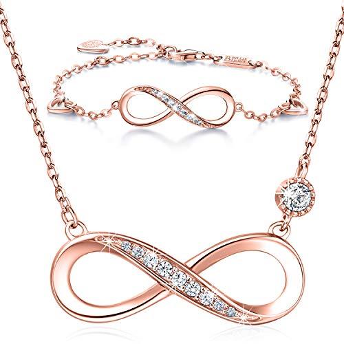 Billie Bijoux Infinity Unendlichkeit Symbol Damen Armband Halskette 925 Sterling Silber Zirkonia Armkette Verstellbar Armband Halsketten Schmuck-Set (B- Rosegold)