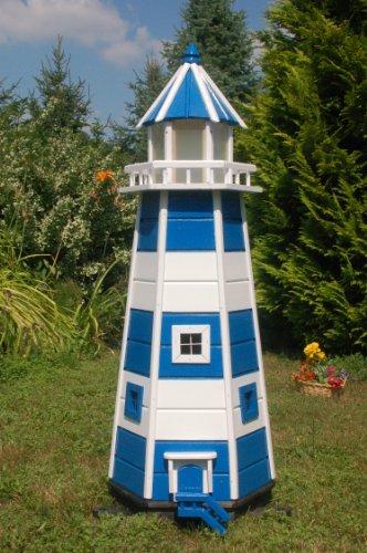 Wunderschöner Leuchtturm 1,40 m blau/weiss mit LED Beleuchtung