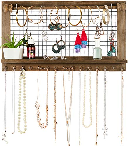 Rustic Jewelry Organizer with Bracelet Rod Wall Mounted - Wooden Wall Mount Holder for Earrings, Necklaces, Bracelets, and Many Other Accessories SoCal Buttercup