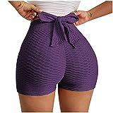 SHOBDW Pantalones Cortos Mujer Deportivos para Mujer Cintura Alta Push Up Deportivas Running Fitness Elásticos Pantalones Deportivos Anticeluliticos Liquidación Venta(Morado,S)