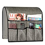 Sofa Armrest Organizer, Remote Control Holder for Recliner Couch, Arm Chair Caddy with 6 Pockets for Magazine, Tablet, Glasses, Phone, iPad, 19x35 Inches, Gray
