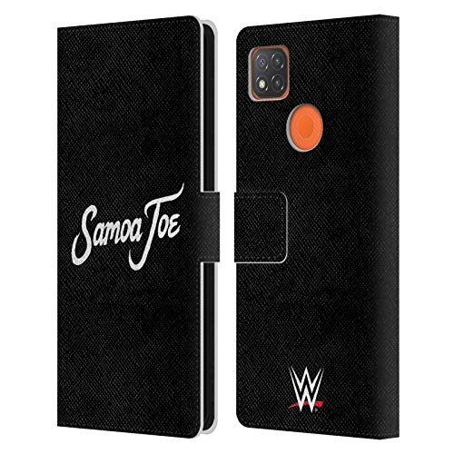 Head Case Designs Officially Licensed WWE Logo Samoa Joe Leather Book Wallet Case Cover Compatible with Xiaomi Redmi 9C