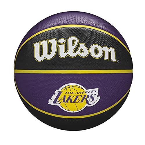 Wilson Pallone da Basket NBA TEAM TRIBUTE BSKT, Utilizzo Outdoor, Gomma, Misura 7, Viola/Nero (Los Angeles Lakers)