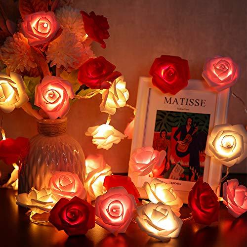 Blume Lichterketten, 6,6 Ft 20 LED Künstliche Rose Girlande Fee Lichter Batteriebetriebene Dekoration für Muttertag Hochzeit Geburtstag Jahrestag (Rot, Rosa, Weiß Blume mit Warmweiß Licht)