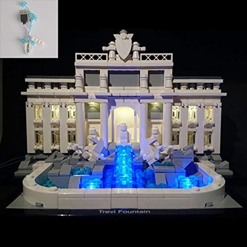 QJXF Juego de Luces USB Compatible con Lego Arquitectura Fontana de Trevi 21020, LED Light Kit para (Fontana de Trevi) de Bloques de creación de Modelos (no Incluido Modelo)