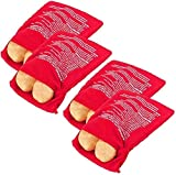 Pack of 4 Microwave Potato Cooker Dropbyy Reusable Microwave Bag for Potato Express Pouch Cooking in Just 4 Minutes Red