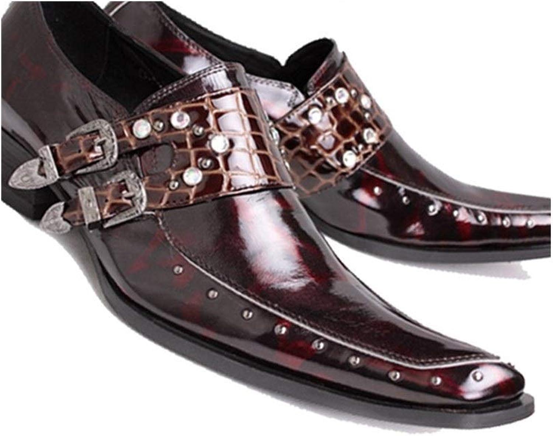 Rui landade Oxford för mansformella skor glider glider glider på stil, äkta läder, utmärkt Fastighetsfest Imiterad Diamond Rivet  bästa erbjudande