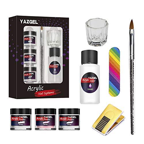 Acryl Set 1 Nagelset Starterset mit Acrylpulver und Flüssigkeit, 3 Farben, Transparent, Rosa, Weiß und ein flüssiger Monomer, Nagelkunst-Pulver für Acrylnägel