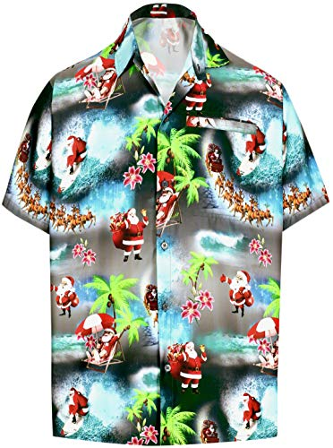 HAPPY BAY Men's 3D HD Santa Claus Christmas Fashion Short Sleeve Hawaiian Shirt Black_AA16 M