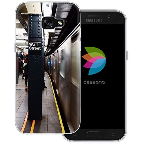 dessana New York City Lifestyle transparente Silikon TPU Schutzhülle dünne Handy Tasche Soft Case für Samsung Galaxy A5 (2017) Wall Street Subway
