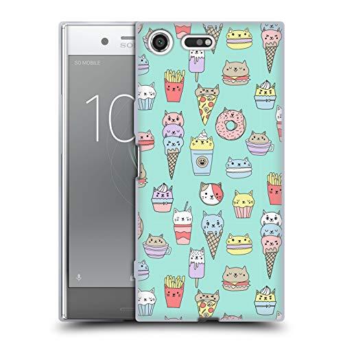 Officiële Andrea Lauren Design Kattenvoer Voedsel Patroon Soft Gel Case Compatibel voor Sony Xperia XZ Premium