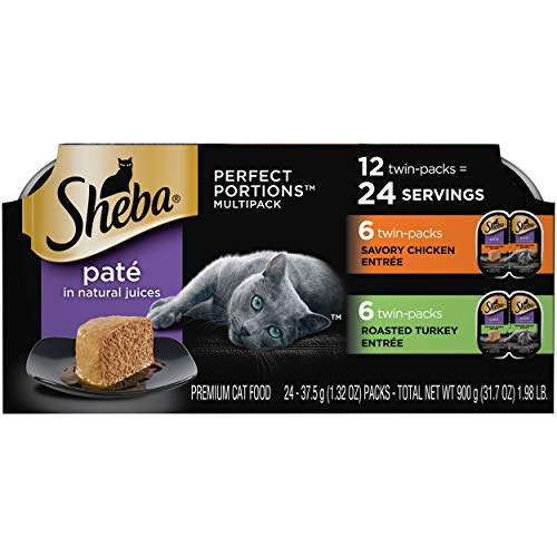 SHEBA PERFECT PORTIONS Soft Wet Cat Food Paté Savory Chicken Entrée and Roasted Turkey Entrée Multipack, Easy Peel Twin-Pack Trays, 48 Count