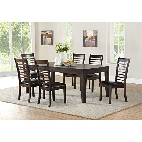 Steve Silver Ally 60-80 inch 7-Piece Dining Table Set in Espresso, 1 Table & 6 Chairs