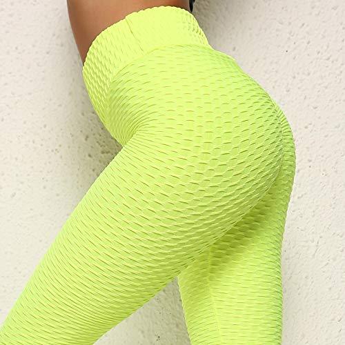 Polainas Leggings Ajustados De Mujer De Cintura Alta De Punto Elástico Leggings De Fitness Leggings De Fitness Femenino Leggings Mujeres M Verde Fluor