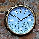 BLKJ Reloj de jardín resistente a la intemperie para exteriores, 15 pulgadas, números romanos, reloj de pared exterior con termómetro, reloj de pared, decoración para interiores y exteriores