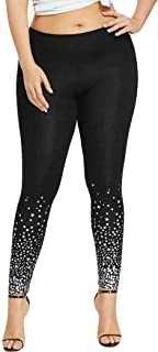 Star Print Leggings, Women's Plus Size High Waist Yoga Pants Sports Gym Running Pencil Pants by E-Scenery