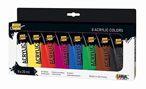 Kreul 84171 - Solo Goya Acrylic im Set, cremige vielseitig einsetzbare Acrylfarbe in Studienqualität, auf Wasserbasis, schnell und matt trocknend, gut deckend, wasserfest, 8 Farben je 20 ml