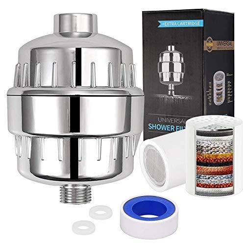 Fugen 18 Stufe Dusche Hartwasserfilter Duschkopffilter Wasserenthärter Wasserfilter für Duschkopf mit 2 Filterpatronen Für Universal-Duschkopf für Küche, Bad und Waschraum