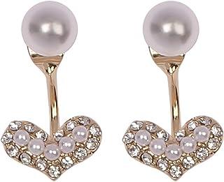 金桥Pendientes de botón nuevos de perlas de amor de diamantes de aguja de plata 925