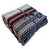 Craft Story Decke Bruno I grau-schwarz-rot-türkis-weiß gestreift aus 100prozent Baumwolle I Tagesdecke I Sofa-Decke I Couch-Überwurf I Bedspread I Plaid I 140 x 210cm