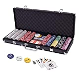 Display4top 500 Piece Texas Holdem Poker Chips Set with Aluminum Case ,2 Decks of Cards, Dealer, Small Blind, Big Blind Buttons and 5 Dice (500 Piece Chips)