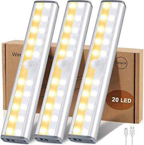 Schrankbeleuchtung mit Bewegungsmelder,20 LED 3-Farbmodi Sensor Licht mit Magnetstreifen,3 Helligkeitsstufen USB Wireless Nachtlicht Schranklicht für Küche Kleiderschrank Kofferraum Treppe(3 Stück)
