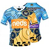 YAQA 2021 Titan Rugby Jersey Edición Nativa Jersey, Camiseta De Fútbol Deporte Casual T-Shirt Top Blue-XL