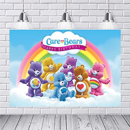 Care Bear Birthday Backdrop for Boys and Girl The Care Bear Birthday Party Supplies Decoration Vinyl Photography Background Cartoons Bear Backdrops for Birthday Party 7x5FT