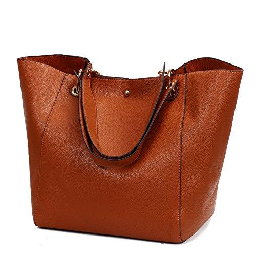 Valleycomfy Damen Tasche Einkaufstasche Pu Leder Handtasche Schultertasche (Braun)