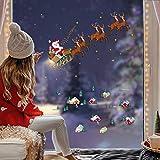 Decalplanet Noël Autocollants Flocon de Neige Noel Sticker Fenetre Vitrine Noel Merry Christmas Stickers Muraux Amovible Décoration Murale pour Porte Vitrine en Verre