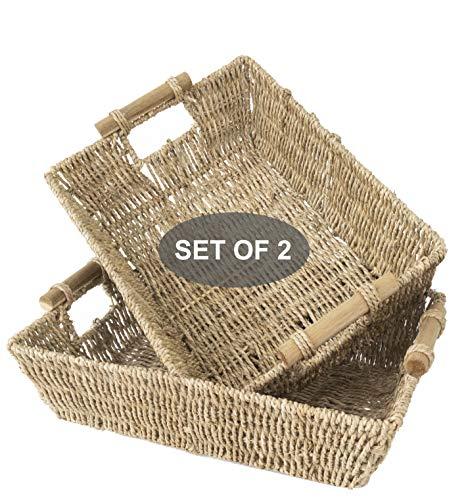 Made Terra Cestas de mimbre Seagrass para baño, cocina y decoración del hogar | Cestas tejidas de alambre de paja con asas para mesa, top de tanque de inodoro, juego de 2 (grande natural)