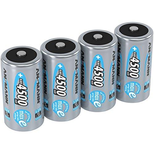 ANSMANN Akku C 4500 mAh NiMH 1,2 V (4 Stück) - Baby C Batterien wiederaufladbar, hohe Kapazität & maxE geringe Selbstentladung für hohen Strombedarf & jahrelangen Einsatz