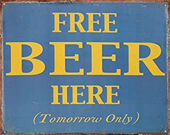 Free Beer Here Tin Sign 15 x 12in