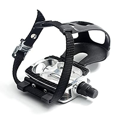 """DRBIKE Bike Pedals with Toe Clips/Cages and Straps, 9/16"""" Aluminum Alloy Bicycle Pedals for Exercise Bike Spin Bike Mountain Bike, 1 Pair"""