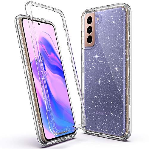 ULAK Glitter Funda Compatible con Galaxy S21, Carcasa 3 en 1 Dura PC Bumper y TPU Suave Resistente Caso para Samsung Galaxy S21 5G 6,2 Pulgadas - Brillante Transparente