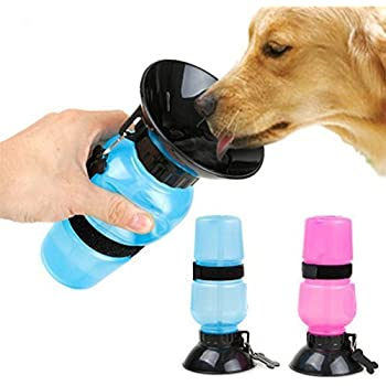 HEMJEX Dog Water Bowl Bottle Sipper Portable Aqua Dog Travel Water Bottle Bowl 18-oz Dog Bottle Auto Dog Mug for Pets