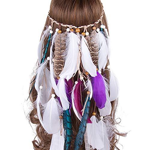 casue, dames, pauwe, hippie hoofdband, veer, Indiase design, haaraccessoires, bohemian, hippie accessoires, Style #6