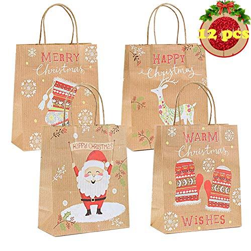 TATAFUN Natale Sacchetti di Carta ,12 Pezzi Festa Carta Kraft Regalo Sacchetti Regalo con Maniglia per Christmas,Matrimonio,Battesimo Compleanno