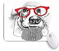 VAMIX マウスパッド 個性的 おしゃれ 柔軟 かわいい ゴム製裏面 ゲーミングマウスパッド PC ノートパソコン オフィス用 デスクマット 滑り止め 耐久性が良い おもしろいパターン (犬バセットハウンドレトロヒップスター動物野生動物ウール美容ファッションおかしい子犬)