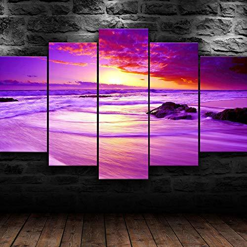 Cuadro En Lienzo Impresión De 5 Piezas Lienzo Grandes XXL Atardecer Púrpura Playa Océano Impresiones Sobre Lienzo Póster Mural 5 Piezas Lienzo Pintura Impresa Modular Cuadros Pared Hogar Decor