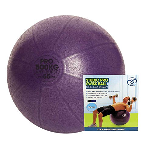 Fitness-Mad 500Kg Swiss Ball & Pump Yoga Ejercicio Ball, Unisex Adulto, púrpura, 55cm