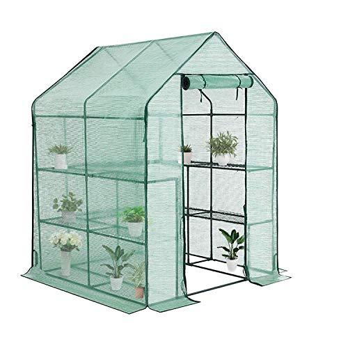 STREND PRO Klein Gewächshaus 193x142x142cm | für optimales Pflanzenwachstum | Foliengewächshaus Winterfest mit 8 Regal | inkl Gewächshaus Folien | Tomaten Gewächshaus | überwinterungszelt für Pflanzen