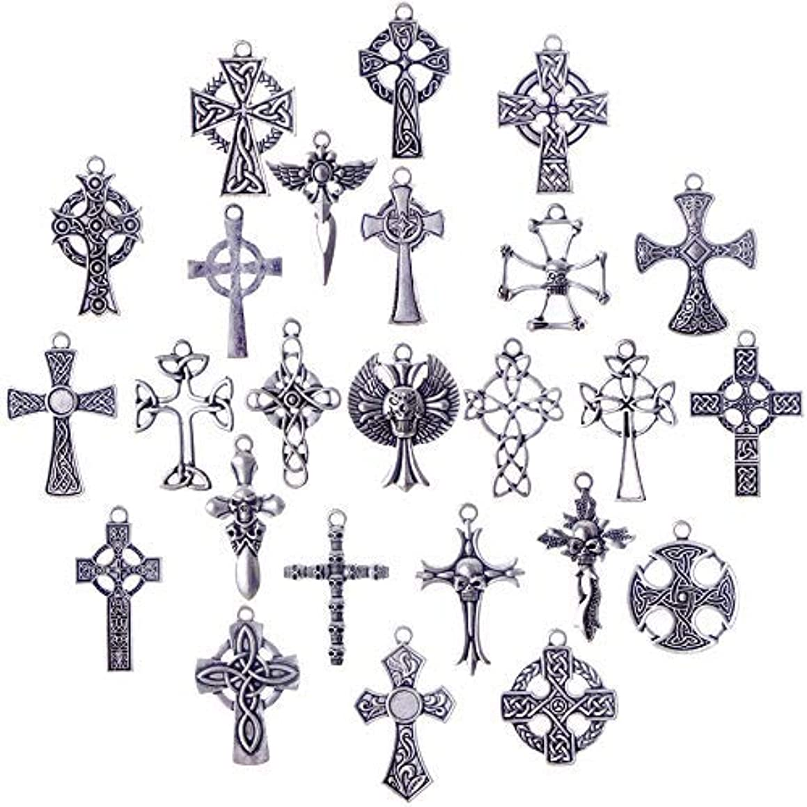 25 pcs Celtic Crosses Charms Assorted Pendants Jewelry Findings for Bracelets, Dangle Earrings, Necklace Jewelry Making