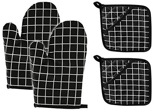 GlobalDream Backofenhandschuhe, 2 Stück Kaminhandschuh Anti-Rutsch Ofenhandschuhe Aus Baumwolle und Leinen Einschließlich Handschuhen und Topflappen für ie Küche die Kochen Backen BBQ (Schwarz)