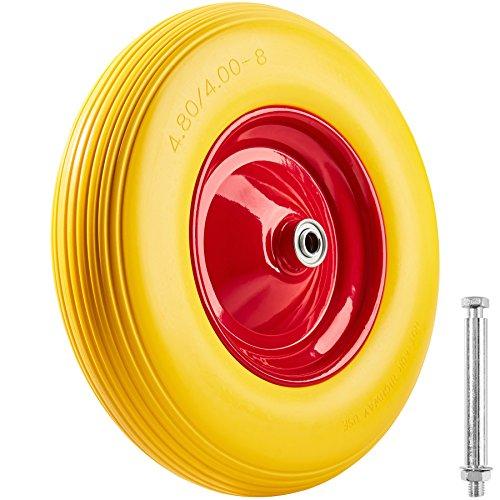 TecTake Pannensicheres Schubkarrenrad aus Vollgummi | Reifen für Schubkarren auf Stahlfelge inkl. Achse | bis 150 kg belastbar