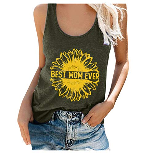 Women's Best Mom Ever Tank Top Sunflower Graphic Sleeveless Scoop Neck Tunic Shirts T Shirt Blouse Tee Plus Size Army Green